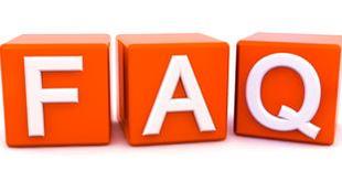 FAQ in orangen Buchstaben